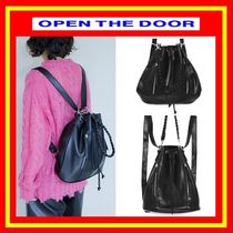 [OPEN THE DOOR]     2way leather bucket bag  /追跡付