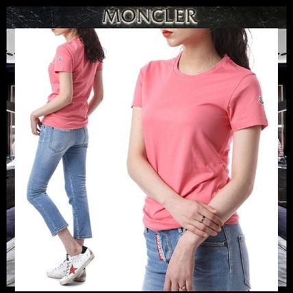 MONCLER Tシャツ・カットソー 【MONCLER】19AW ロゴパッチ コットン Tシャツ PINK/安心追跡付