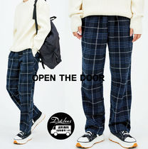 OPENTHEDOOR check banding straight pants OH93 追跡付