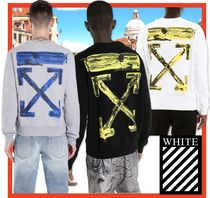 関税負担★人気★【Off-White】ACRYLIC ARROWS SWEATSHIRT★3色