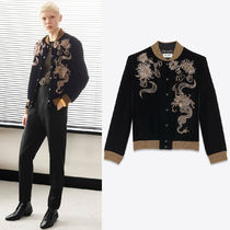 WSL1602 EMBROIDERED VELVET VARSITY JACKET