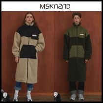☆MSKN2ND☆ LENTICULAR PATCH FLEECE ZIP UP LONG JACKET