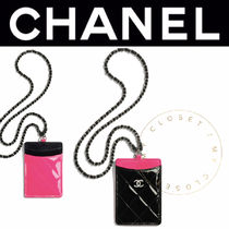 CHANEL チェーン カード ケース クラシック ロゴ カーフ 限定 女