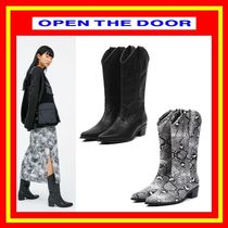 [OPEN THE DOOR]  leather western middle boots -[全2色]