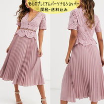 国内発送ASOS DESIGN broderie button front pleated tea dress