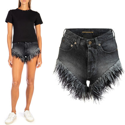 Saint Laurent デニム・ジーパン WSL1624 SLIM-FIT OSTRICH FEATHERED DENIM SHORTS