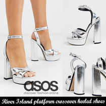 ASOS◆River Island platform crossover heeled shoes in silver