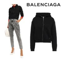 BALENCIAGA☆Cropped embroidered cotton-fleece hoodie