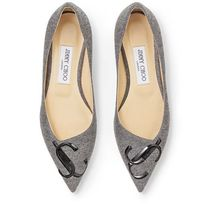 JIMMY★CHOO<VIPセールで完売確実>JCロゴ入りLOVE/FLAT/GREY