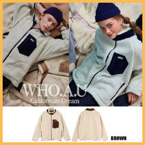 ◆WHO.A.U◆ 2019FW NEW TEDDY DUMBLE ZIP UP (BROWM) 男女兼用