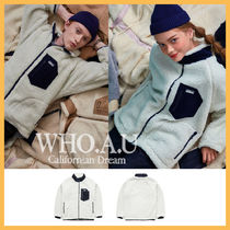 ◆WHO.A.U◆ 2019FW NEW TEDDY DUMBLE ZIP UP (NAVY) 男女兼用