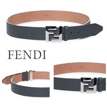 《SALE》FENDI LEATHER BELT WITH FF LOGO METAL BUCKLE