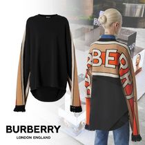 19-20AW【★BURBERRY★Contrast Sleeve Cotton Oversized Top】