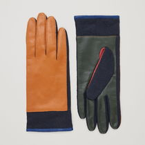 """COS"" COLOUR-BLOCK LEATHER GLOVES Y/K/B"