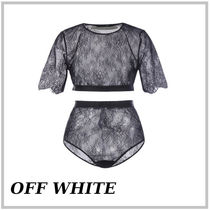 OFF WHITE☆花柄レースツーピースセット 関税送料込み