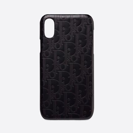 Dior スマホケース・テックアクセサリー Dior☆BLACK CALFSKIN DIOR OBLIQUE IPHONE XS CASE XS用ケース