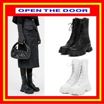 [OPEN THE DOOR] platform leather walker middle boots /追跡付
