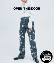 OPENTHEDOOR straight-fit painting black jeans OH112 追跡付