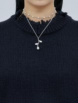 【OPEN THE DOOR】 circle pearl set rose necklace (2 color)