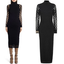 FE2651 BLACK KNIT DRESS WITH MESH DETAIL