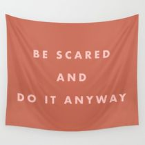Inspirational Bravery Quote in Terra Cotta Wall Tapestry