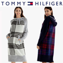 Tommy Hilfiger正規品★Check Hooded Sweater Dress (2色)