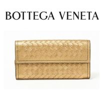 ☆BOTTEGA VENETA☆ METALLIC LAMB フラップ長財布 CHAMPIGNON♪