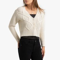 La Redoute★Cropped Cable-Knit Cardigan with V-Neck