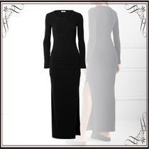 JAMES PERSE(ジェームスパース) ドレス-ロング 関税込み◆Ruched brushed cotton-blend jersey maxi dress