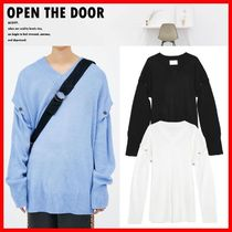 人気☆【OPEN THE DOOR】☆V-neck button removable knit☆3色☆