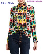 Willa Stace Face Silk Placket Top in Stace Face Photo Booth