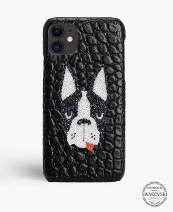 THE CASE FACTORY スマホケース・テックアクセサリー The Case Factory iPHONE 11 PRO MAX SWAROVSKI DOGクロコダイル(3)
