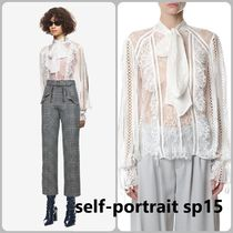 Self-Portrait Pussy-Bow Organza-Trimmed Lace Blouse S15w