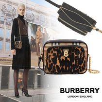 【★BURBERRY★Vintage Check and Leopard Print Camera Bag】