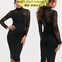 国内発送ASOS DESIGN long sleeve lace scuba mix pencil dress
