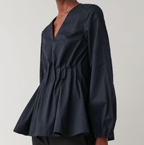 """""""COS"""" PLEATED PUFF SLEEVE TOP BLUE"""