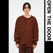 ●OPEN THE DOOR●韓国FASHION●HALF-AND-HALF CABLE KNIT (3色)