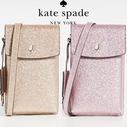 kate spade new york スマホケース・テックアクセサリー 【kate spade new york】Glitter Flap Cross Body Bag