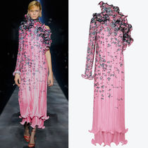 G600 LOOK51 ASYMMETRICAL PLEATED DRESS WITH FLORAL PRINT