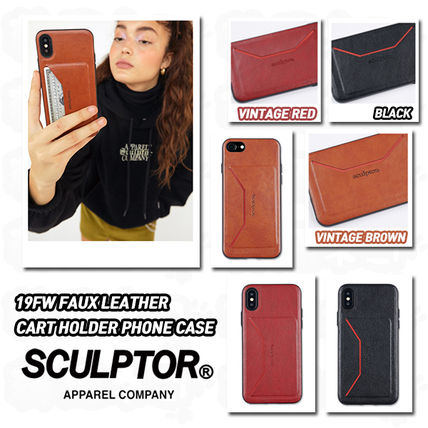 SCULPTOR スマホケース・テックアクセサリー ★SCULPTOR★19FW FAUX LEATHER CART HOLDER PHONE CASE 全3色