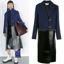 M626 LOOK4 WOOL & PATENT LEATHER COAT