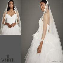 ☆White by Vera Wang☆レースアップリケ スクエア ロングベール