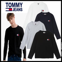 19AW ★TOMMY JEAN★ 兼用 コットン バッジロゴ 長袖Tシャツ 4色