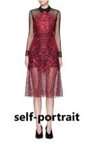 Self Portrait Floral Embroidered Lace Sheer Sleeve Dress