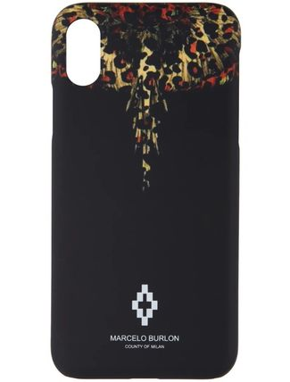 Marcelo Burlon スマホケース・テックアクセサリー 【Marcelo Burlon】Black Leopard Wings iPhone X Case