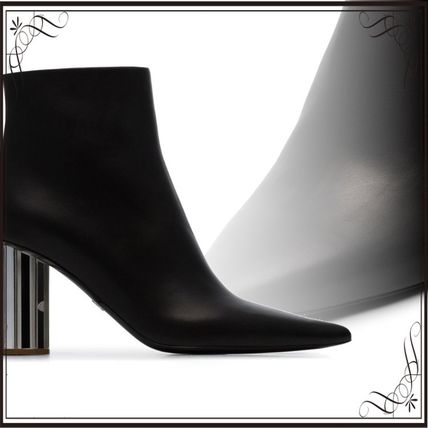 関税込み◆black 90 mirror heel leather ankle boots