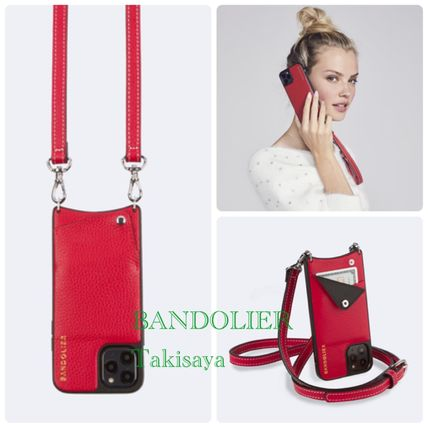Bandolier スマホケース・テックアクセサリー 新色 BANDOLIER !Casey Pebble Leather Red/Silver XS/X/XR