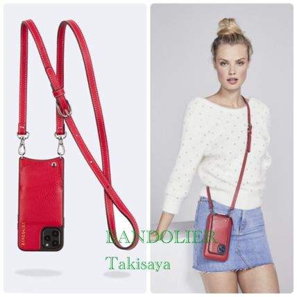Bandolier スマホケース・テックアクセサリー 新色 BANDOLIER !Casey Pebble Leather Red/Silver XS/X/XR(3)