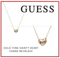 Guess Tone Dainty Heart Charm Necklace ロゴ ハートネックレス