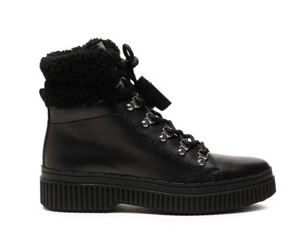 ★TOD'S(トッズ)★Shearling-trimmed leather snow boots